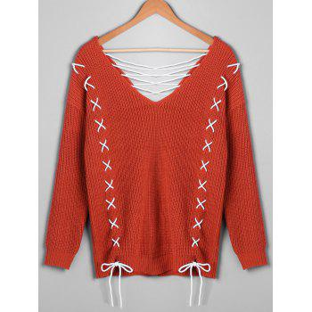Plus Size Lace Up Plunging Sweater - 5XL 5XL