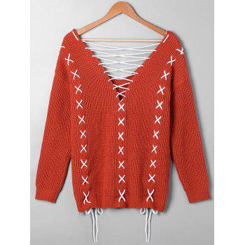 Plus Size Lace Up Plunging Sweater - RED ORANGE 5XL