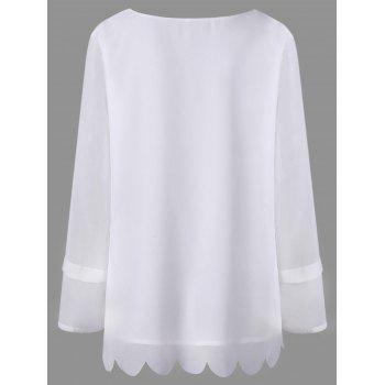 Plus Size Embellished Scalloped Blouse - WHITE WHITE