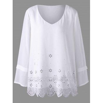 Plus Size Embellished Scalloped Blouse - WHITE 4XL