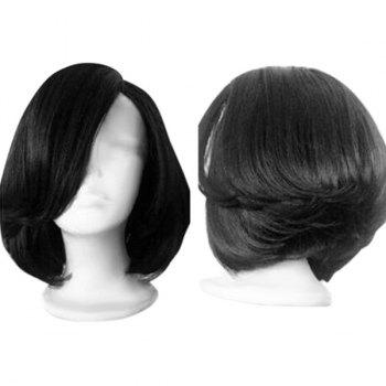 Side Parting Short Straight Feathered Bob Synthetic Wig - BLACK BLACK