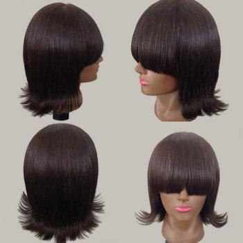 Short Neat Bang Straight Anti-alice Synthetic Wig - DARK AUBURN DARK AUBURN