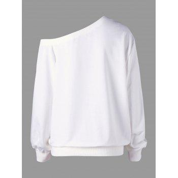 Sweat à col roulé sans manches Snow Plus Size - Blanc 4XL