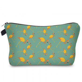 Print Flamingos Contrasting Color Cosmetic Bag - GREEN AND YELLOW GREEN/YELLOW