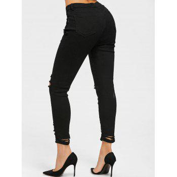 Destroyed Skinny Jeans - BLACK S