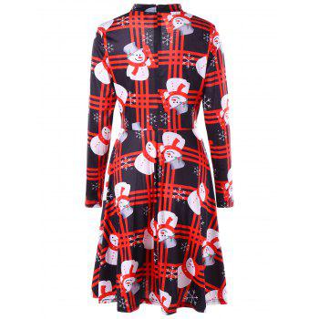 Christmas Snowman Snowflake Check Dress - COLORMIX L