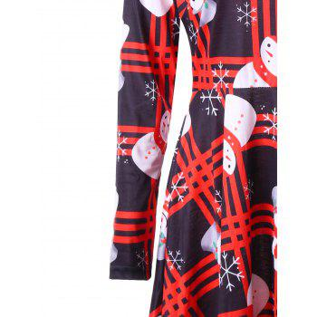 Christmas Snowman Snowflake Check Dress - COLORMIX XL