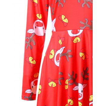 Ugly Christmas Elk Cut Out Dress - COLORMIX S