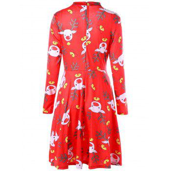 Ugly Christmas Elk Cut Out Dress - multicolorcolore XL