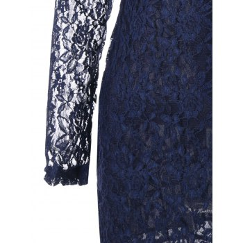 Plunging Neck Sheer Long Sleeve Lace Dress - Bleu Violet M