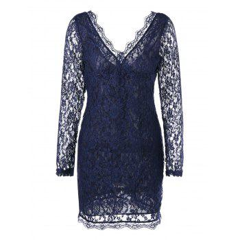Plunging Neck Sheer Long Sleeve Lace Dress - PURPLISH BLUE XL