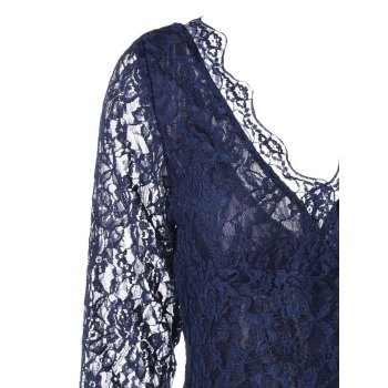 Plunging Neck Sheer Long Sleeve Lace Dress - 2XL 2XL