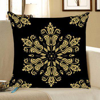 Home Decor Flower Totem Printed Throw Pillow Case - BLACK BLACK