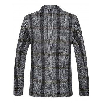 Lapel Double Breasted Woolen Tartan Blazer - LIGHT GRAY 3XL