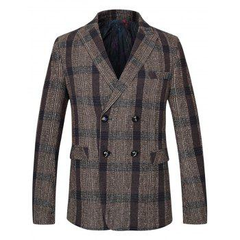 Lapel Double Breasted Woolen Tartan Blazer - COFFEE 4XL