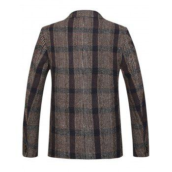 Lapel Double Breasted Woolen Tartan Blazer - COFFEE COFFEE