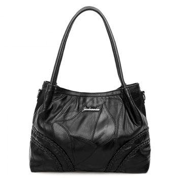Stitching Braided Faux Leather Tote Bag - BLACK BLACK