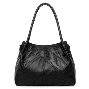 Stitching Braided Faux Leather Tote Bag - BLACK
