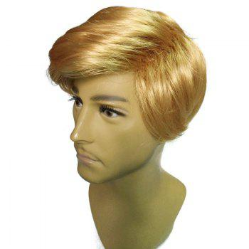 President Donald Trump Cosplay Short Side Parting Straight Man Wig - GOLDEN GOLDEN