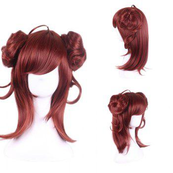 Long Side Bang Two Buns Straight Synthetic Cosplay Lolita Wig - RED RED