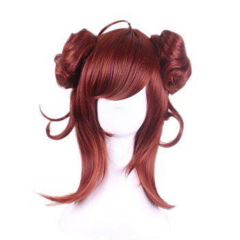 Long Side Bang Two Buns Straight Synthetic Cosplay Lolita Wig - RED