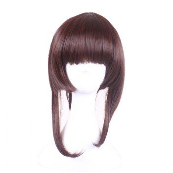 Long Neat Bang Straight Synthetic Lolita Cosplay Wigs With Temples - DARK AUBURN