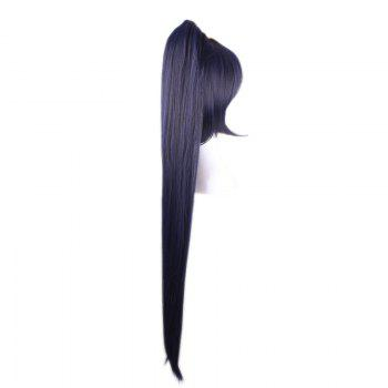 Short Side Bang Straight Synthetic Cosplay Lolita Wigs With Long Ponytail -  INK BLUE