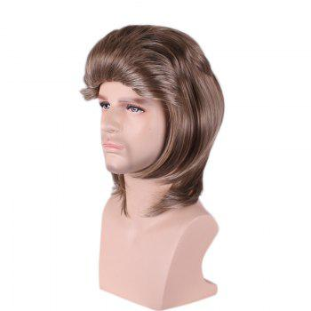 Layered Medium Straight Synthetic Cosplay Man Wig - BRUN
