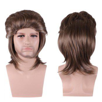 Layered Medium Straight Synthetic Cosplay Man Wig - BROWN BROWN