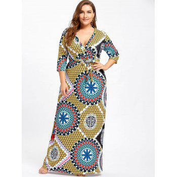 Plus Size Surplice Belted Floral Dress - YELLOW 3XL