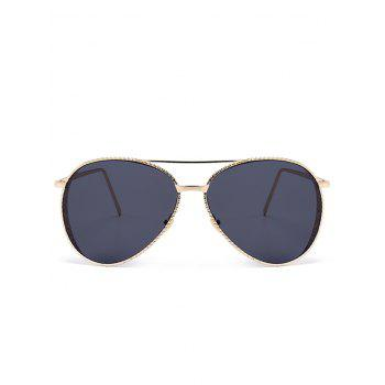 Anti UV Metal Frame Carved Pilot Sunglasses -  DARK GREY