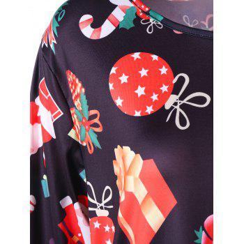 Plus Size Gift Print Mini Christmas Dress - BLACK 5XL