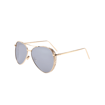 Anti UV Metal Frame Carved Pilot Sunglasses - SILVER
