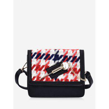 Colored Houndstooth Metal Detail Crossbody Bag - RED RED
