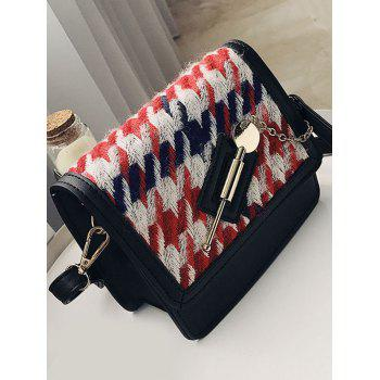 Colored Houndstooth Metal Detail Crossbody Bag -  RED