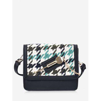 Colored Houndstooth Metal Detail Crossbody Bag - GREEN GREEN