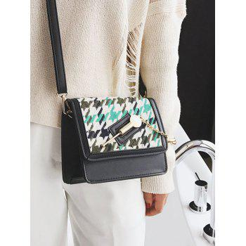 Colored Houndstooth Metal Detail Crossbody Bag -  GREEN