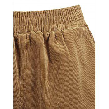 Plus Size Corduroy Pocket Shorts - DARK CAMEL 4XL