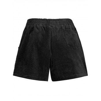 Plus Size Corduroy Pocket Shorts - BLACK BLACK