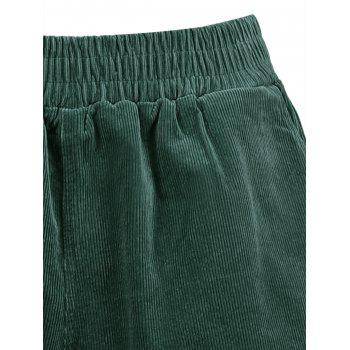 Plus Size Corduroy Pocket Shorts - BLACKISH GREEN 5XL