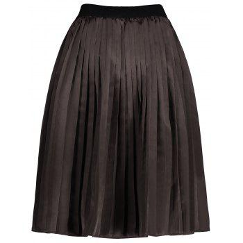 Plus Size Pleated Midi Elastic Waist Skirt - DARK CAMEL DARK CAMEL