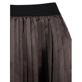 Plus Size Pleated Midi Elastic Waist Skirt - DARK CAMEL 5XL