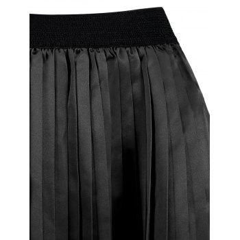 Plus Size Pleated Midi Elastic Waist Skirt - 4XL 4XL