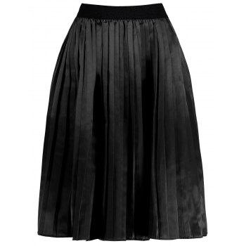 Plus Size Pleated Midi Elastic Waist Skirt - BLACK 4XL