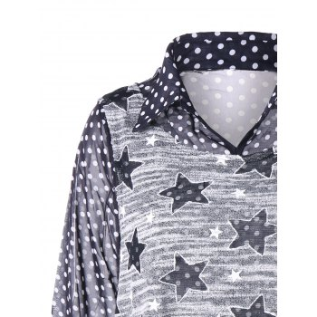 Sheer Polka Dot Star Plus Size Two Piece Top - multicolorcolore 3XL
