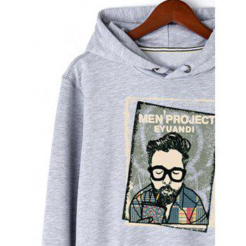 Letter Print Potrait Graphic Pullover Hoodie - GRAY L
