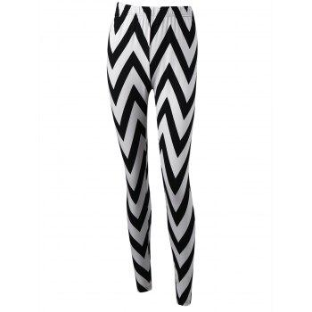 Monochrome Zigzag Leggings - WHITE AND BLACK M