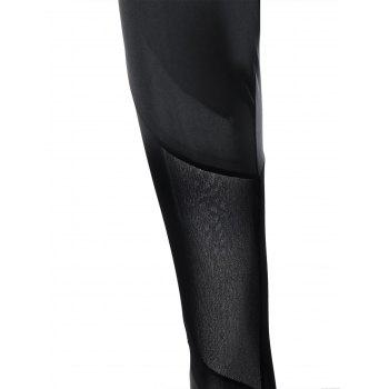 Mesh Insert Tight Leggings - BLACK M