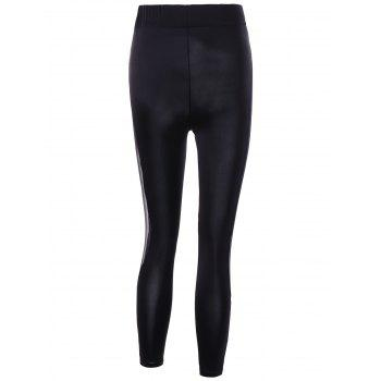 Mesh Insert Sheer Leggings - BLACK L