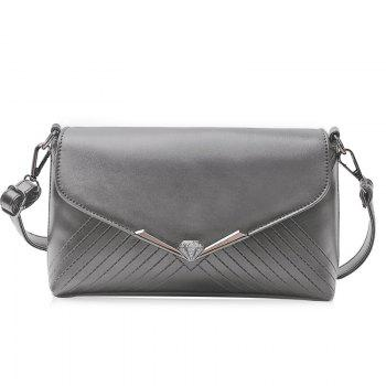 Faux Leather Metal Detailed Quilted Shoulder Bag - GRAY GRAY